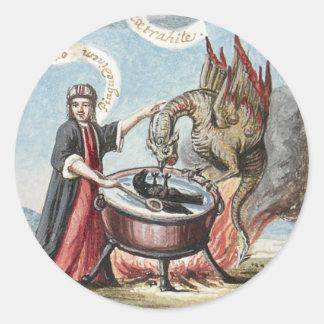 Adesivo Redondo Mágico e dragão no caldeirão da alquimia