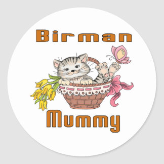 Adesivo Redondo Mamã do gato de Birman