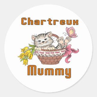 Adesivo Redondo Mamã do gato de Chartreux