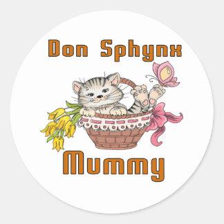 Adesivo Redondo Mamã do gato de Don Sphynx