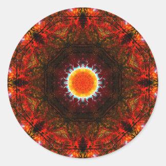 Adesivo Redondo Mandala ardente vibrante do núcleo
