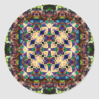 Adesivo Redondo Mandala celta do vitral do coração do arco-íris