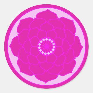 Adesivo Redondo Mandala cor-de-rosa fúcsia de Lotus