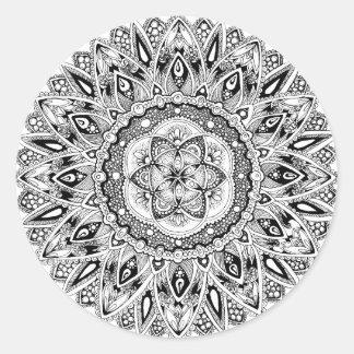 Adesivo Redondo Mandala da flor com a semente da vida