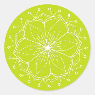 Adesivo Redondo Mandala da flor de Lotus do verde limão