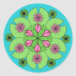 Adesivo Redondo Mandala da lagoa de Lotus