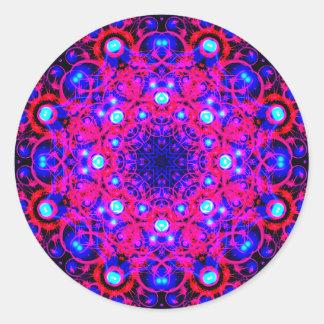 Adesivo Redondo Mandala de néon dos Fractals