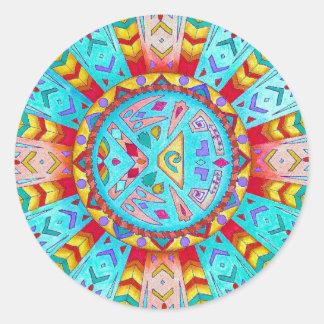 Adesivo Redondo Mandala do sudoeste do nativo americano da