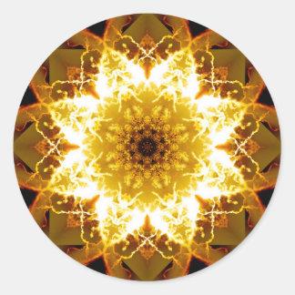 Adesivo Redondo Mandala dourada de Sun