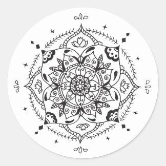 Adesivo Redondo Mandala preta & branca - estilo simples