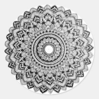 Adesivo Redondo Mandala preto e branco