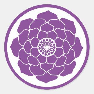 Adesivo Redondo Mandala roxa de Lotus