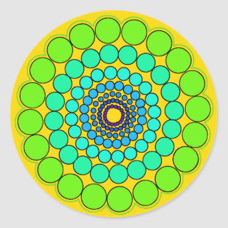 Adesivo Redondo Mandala verde-amarela do espectro