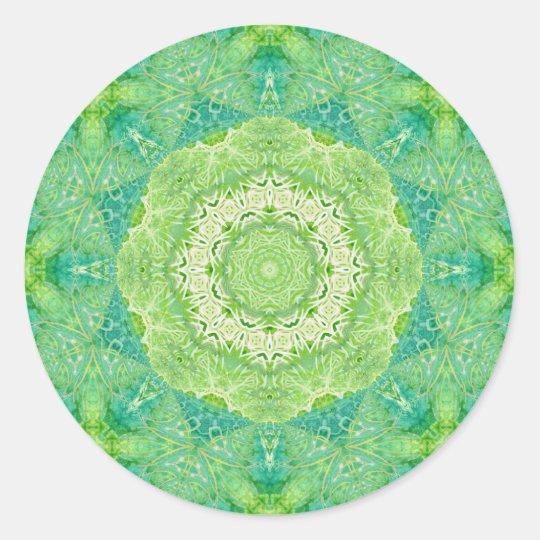 Como Fazer Artesanato Reciclagem De Garrafa Pet ~ Adesivo Redondo Mandala verde do Fractal da aguarela Zazzle com br
