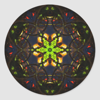 Adesivo Redondo Mandala vibrante de Mosaïc da escuridão