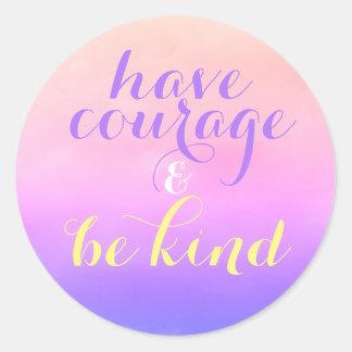Adesivo Redondo Mande a coragem ser miúdos inspirados amáveis das