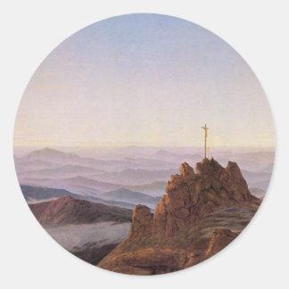 Adesivo Redondo Manhã em Riesengebirge - Caspar David Friedrich