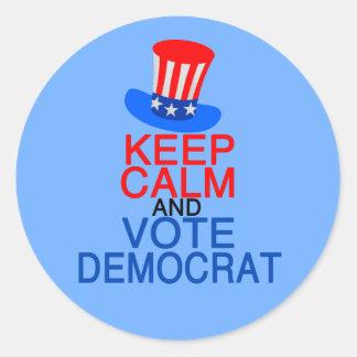 Adesivo Redondo Mantenha o voto calmo Democrata