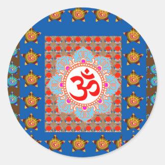 Adesivo Redondo Mantra elegante de OmMANTRA: Meditação da ioga que