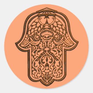 Adesivo Redondo Mão do Henna de Hamsa (alaranjado)