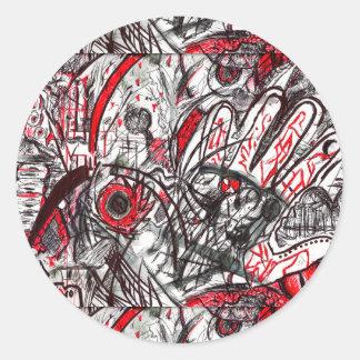 Adesivo Redondo Mãos do desenho da caneta da raiva