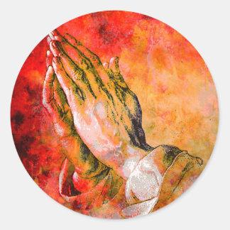 ADESIVO REDONDO MÃOS PRAYING