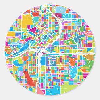 Adesivo Redondo Mapa colorido de Atlanta