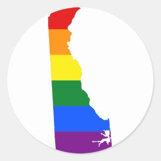 Adesivo Redondo Mapa da bandeira de Delaware LGBT