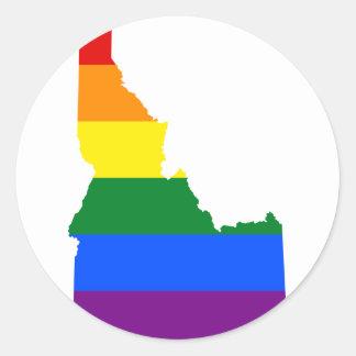 Adesivo Redondo Mapa da bandeira de Idaho LGBT