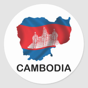 Adesivo Redondo Mapa de Cambodia