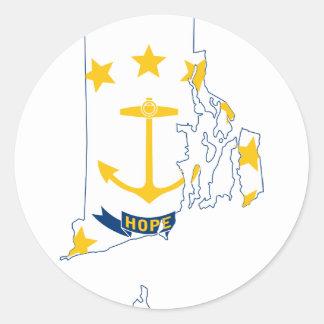 Adesivo Redondo Mapa de Rhode - ilha da bandeira