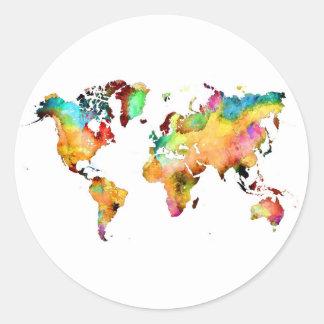 Adesivo Redondo mapa do mundo