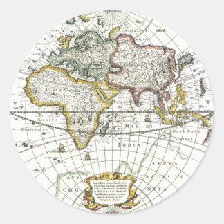 Adesivo Redondo Mapa do mundo antigo por Hendrik Hondius, 1630