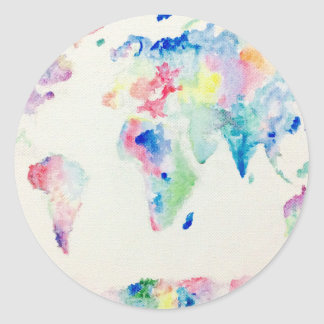 Adesivo Redondo mapa do mundo da cor de água