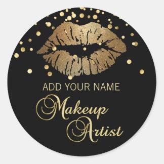 Adesivo Redondo Maquilhador preto elegante dos lábios do ouro