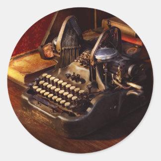 Adesivo Redondo Máquina de dactilografia de Steampunk - de Oliver