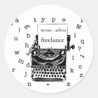 Adesivo Redondo Máquina de escrever bonito do handdrawin do