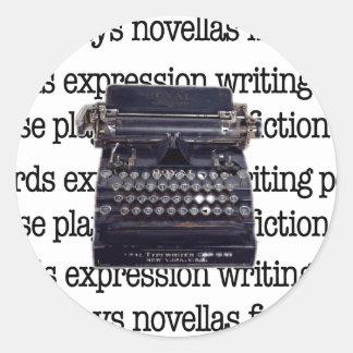 Adesivo Redondo Máquina de escrever do vintage