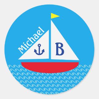 Adesivo Redondo Mar azul náutico marinho do veleiro vermelho