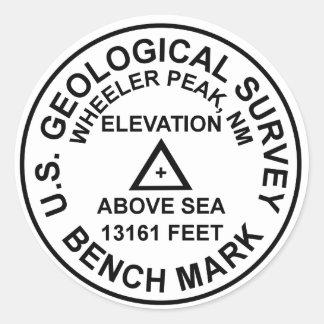 Adesivo Redondo Marca de nível do estilo de Wheeler Peak USGS