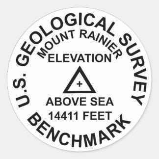 Adesivo Redondo Marca de nível do estilo do Mt. Rainer USGS