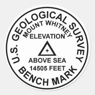 Adesivo Redondo Marca de nível do estilo do Mt. Whitney USGS