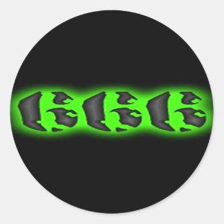 Adesivo Redondo Marca má do animal | o Dia das Bruxas 666