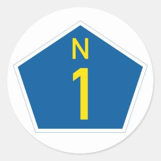 Adesivo Redondo Marcador nacional da rota N1 de África do Sul