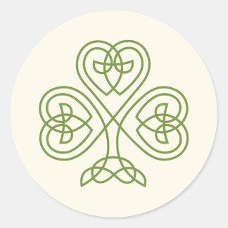 Adesivo Redondo Marfim celta do casamento do trevo do nó