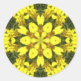 Adesivo Redondo margaridas abstratas florais amarelas do design