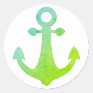 Adesivo Redondo Marinheiro náutico do verde limão da âncora do