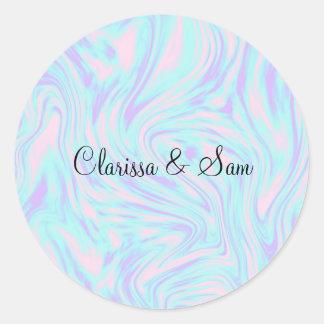 Adesivo Redondo mármore branco roxo azul cor-de-rosa colorido