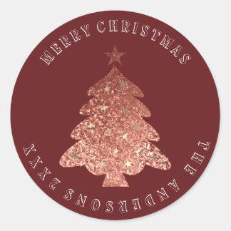 Adesivo Redondo Marrom cor-de-rosa de Borgonha do ouro da árvore