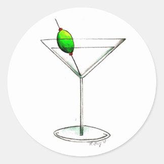 Adesivo Redondo Martini sujo com bebida misturada verde-oliva de